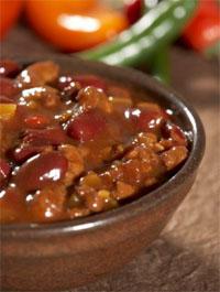 Zoutarm hoofdgerecht: Chili con carne. Zet de bonen een avond van te voren met ruim water in de week. Kook de bonen in het weekwater in ongeveer een uur gaar.